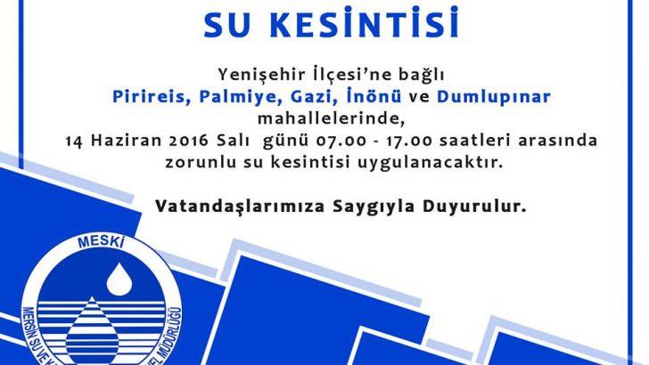 Dikkat! Yenişehir'de Su Kesintisi Var…