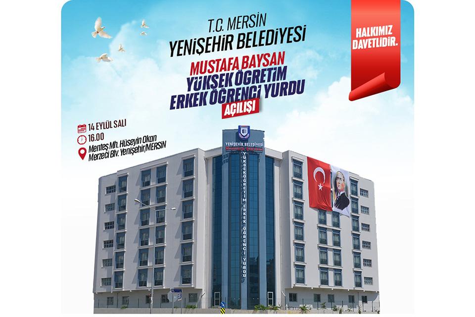 Yenişehir Belediyesi Mustafa Baysan Öğrenci Yurdu Açılıyor